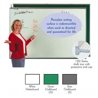 Aarco 120A-48CG Porcelain Enamel On Steel Chalkboard, Green 4' x 8'