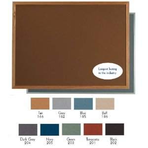 "Aarco DW48144166 VIC Cork Bulletin Board with Aluminum Frame, Tan 48"" x 144"""