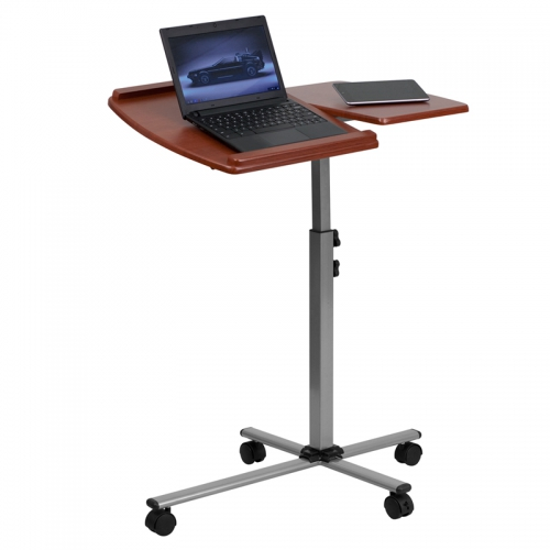 Flash Furniture  Angle and Height Adjustable Mobile Laptop Computer Table with Cherry Top [NAN-JN-2762-GG]