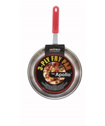 Winco FPT3-10 Apollo 3-Ply Fry Pan with Red Silicone Sleeve 10""