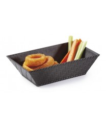 "GET Enterprises RB-893-BK Black Plastic Rectangular Textured Basket, 8""(1 Dozen)"