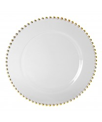 "10 Strawberry Street BG-340 Belmont Gold Beaded Rim Charger Plate 13"" (Set of 4)"