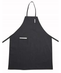 Winco BA-PBK Black Full-Length Bib Apron with Pocket