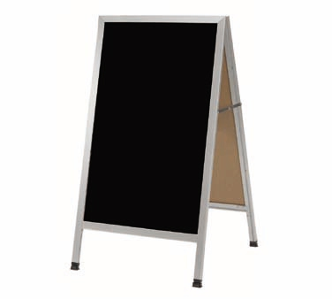 "Aarco AA-1BP A-Frame Sidewalk Board with Black Acrylic Board and Aluminum Frame 42""x24"""