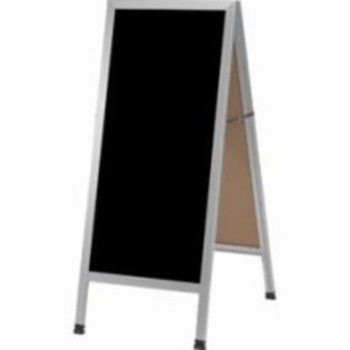 "Aarco AA-3BP A-Frame Sidewalk Board with Black Acrylic Board and Aluminum Frame 42""x18"