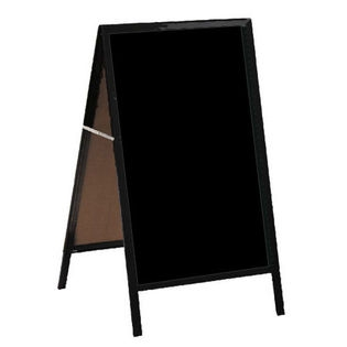 "Aarco MA-1P A-Frame Sidewalk Board with Black Acrylic Board and Cherry Frame 42""x24"""