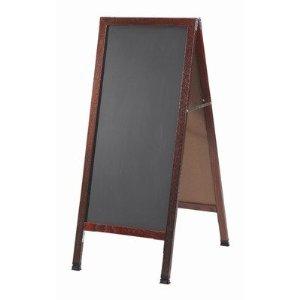 "Aarco MA-3P A-Frame Sidewalk Board with Black Acrylic Board and Cherry Frame 42""x18"