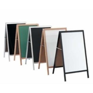 "Aarco A-3P A-Frame Sidewalk Board with Black Acrylic Board and Oak Frame 42""x18"