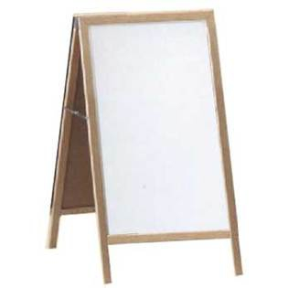 "Aarco A-1 A-Frame Sidewalk Board with Black Chalkboard and Oak Frame 42""x24"""