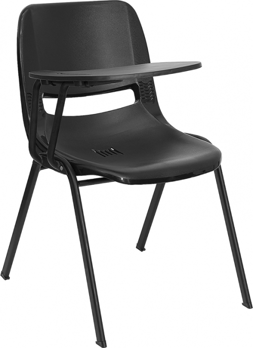 Flash Furniture  Black Ergonomic Shell Chair with Right Handed Flip-Up Tablet Arm [RUT-EO1-BK-RTAB-GG]