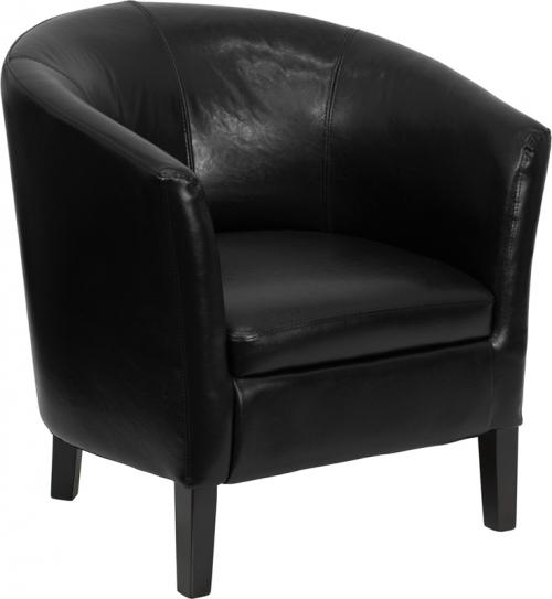 Flash Furniture  Black Leather Barrel Shaped Guest Chair [GO-S-11-BK-BARREL-GG]