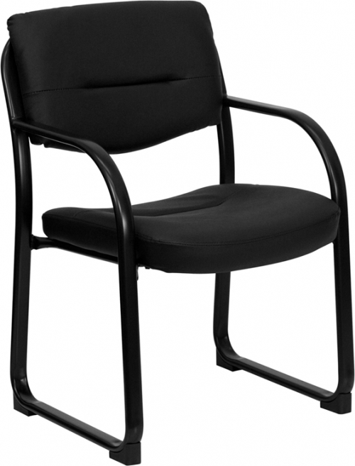 Flash Furniture Black Leather Executive Side Chair with Sled Base [BT-510-LEA-BK-GG]