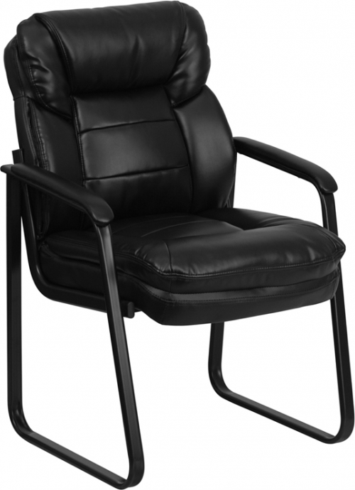 Flash Furniture Black Leather Executive Side Chair with Sled Base [GO-1156-BK-LEA-GG]