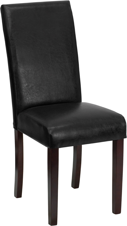 Flash Furniture Black Leather Upholstered Parsons Chair [BT-350-BK-LEA-023-GG]