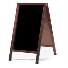 "Aarco MA-11A-Frame Sidewalk Board with Black Melamine Markerboard and Cherry Frame 42""x24"""