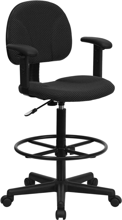 Flash Furniture Black Patterned Fabric Ergonomic Drafting Stool with Arms [BT-659-BLK-ARMS-GG]