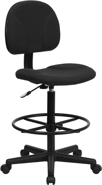 Flash Furniture Black Patterned Fabric Ergonomic Drafting Stool [BT-659-BLK-GG]