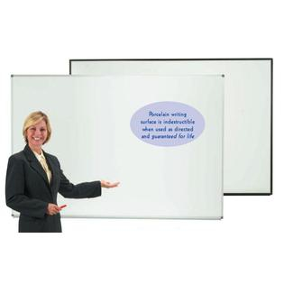 "Aarco ERPB1824 Designer Series High Gloss White Markerboard with Black Powder Coated Frame 18"" x 24"""