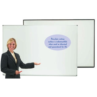 "Aarco ERPB4872V2 Designer Series Low Gloss White Markerboard with Black Powder Coated Frame 48"" x 72"""