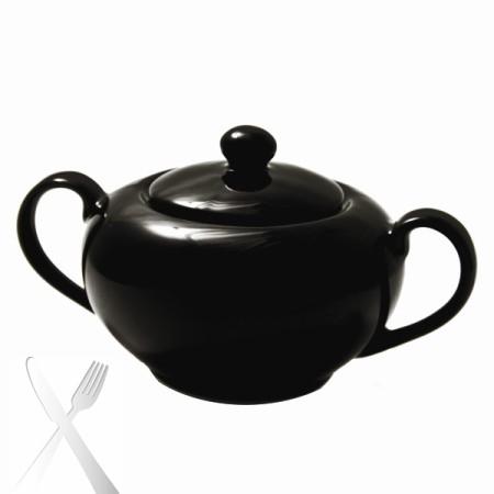 10 Strawberry Street BRB0018 Black Rim Covered Sugar Bowl 8 oz. - Case of 6