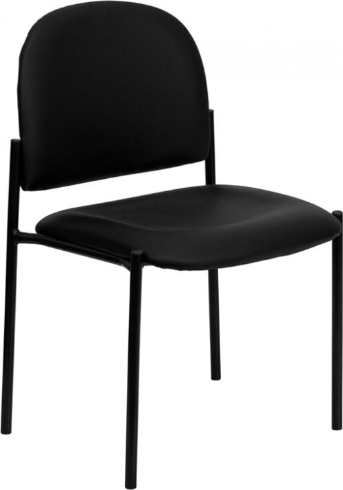 Flash Furniture Black Vinyl Comfortable Stackable Steel Side Chair [BT-515-1-VINYL-GG]