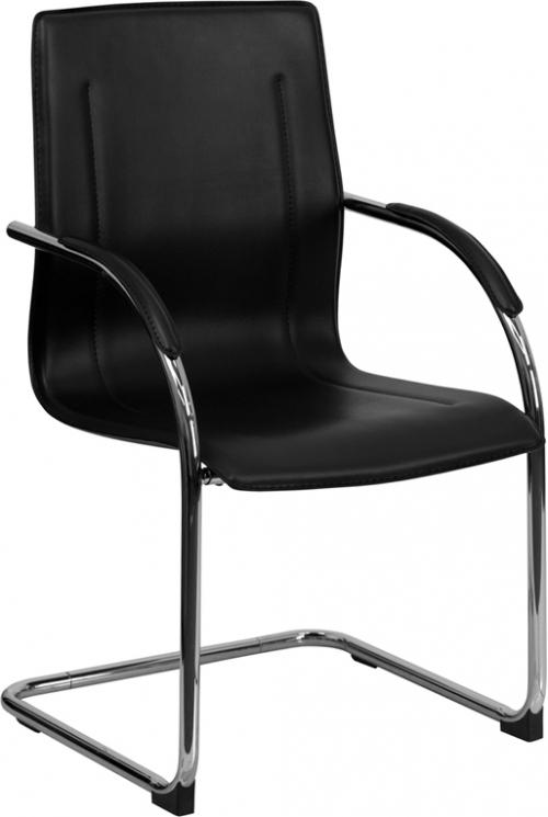 Flash Furniture Black Vinyl Side Chair with Chrome Sled Base [BT-509-BK-GG]