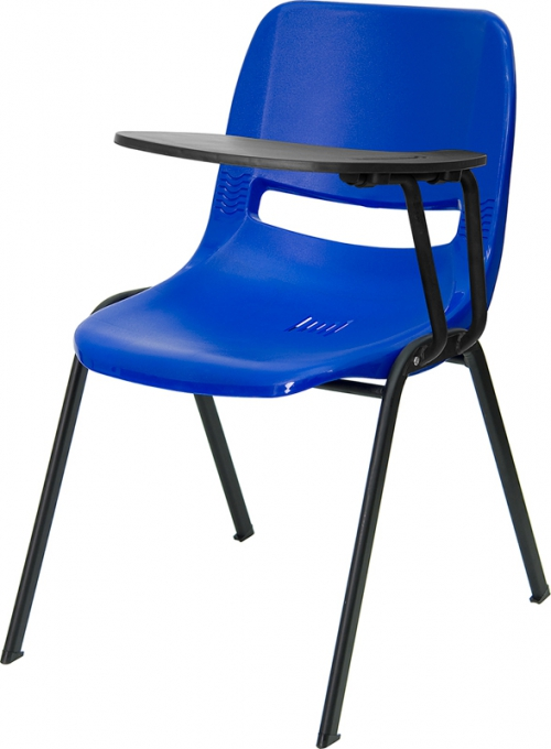 Flash Furniture Blue Ergonomic Shell Chair with Left Handed Flip-Up Tablet Arm [RUT-EO1-BL-LTAB-GG]