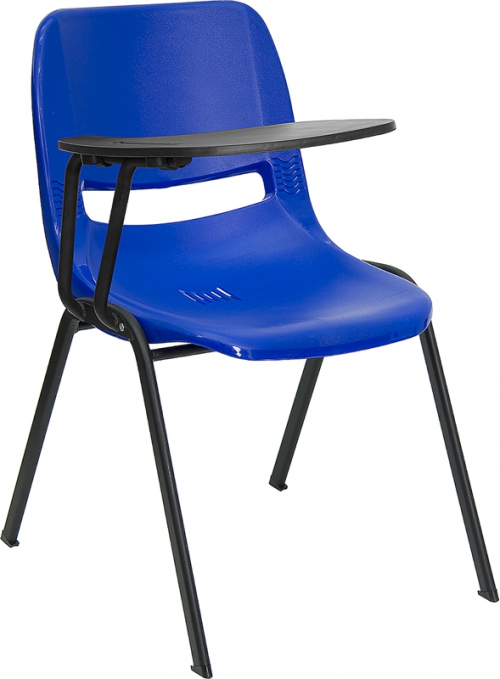 Flash Furniture Blue Ergonomic Shell Chair with Right Handed Flip-Up Tablet Arm [RUT-EO1-BL-RTAB-GG]