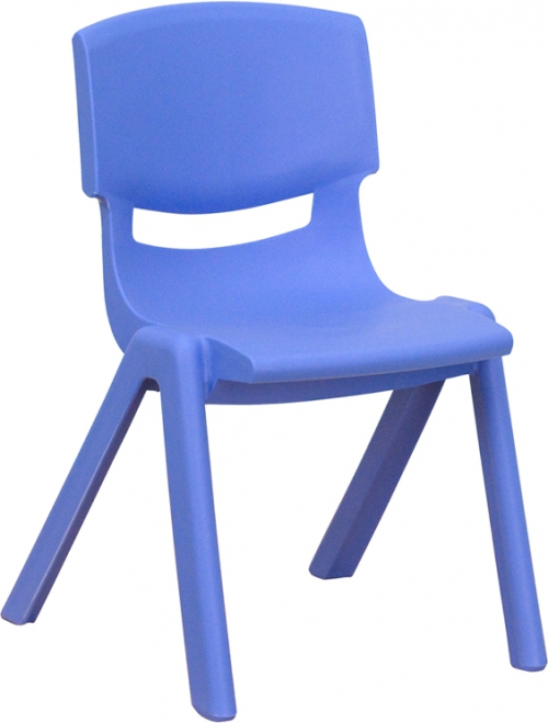Flash Furniture Blue Plastic Stackable School Chair with 12'' Seat Height [YU-YCX-001-BLUE-GG]