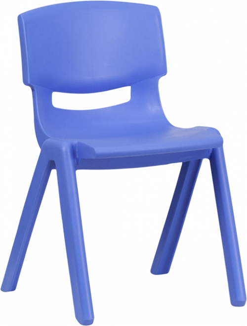 Flash Furniture Blue Plastic Stackable School Chair with 13.25'' Seat Height [YU-YCX-004-BLUE-GG]