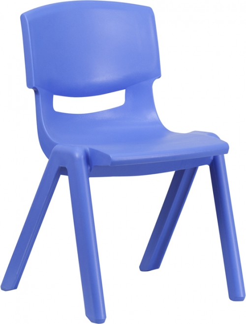 Flash Furniture Blue Plastic Stackable School Chair with 15.5'' Seat Height [YU-YCX-005-BLUE-GG]