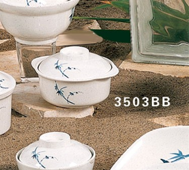 Thunder Group 3503BB Blue Bamboo Miso Bowl with Lid 12 oz. (6 Pieces)