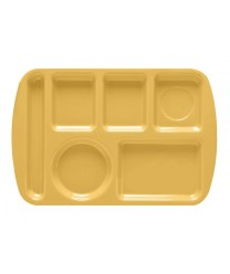 "GET Enterprises TL-151-BY Bright Yellow Melamine Left Hand 6 Compartment Tray, 9 -1/2""x 14-3/4""(1 Dozen)"