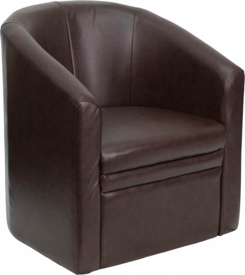 Flash Furniture  Brown Leather Barrel-Shaped Guest Chair [GO-S-03-BN-FULL-GG]