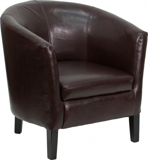 Flash Furniture  Brown Leather Barrel Shaped Guest Chair [GO-S-11-BN-BARREL-GG]