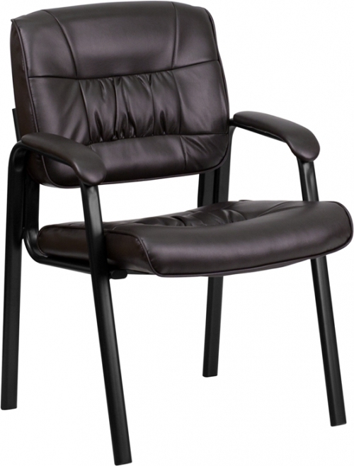 Flash Furniture Brown Leather Guest / Reception Chair with Black Frame Finish [BT-1404-BN-GG]