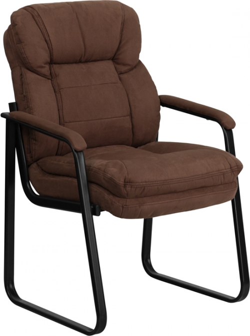 Flash Furniture  Brown Microfiber Executive Side Chair with Sled Base [GO-1156-BN-GG]