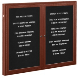 "Aarco RSB3672BU Enclosed Radius Design Directory Board with Tempered Glass Sliding Doors, Burgundy Frame 36"" x 72"""