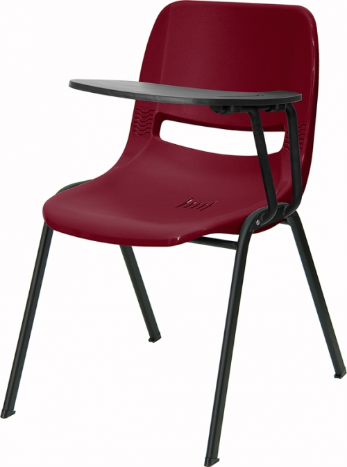 Flash Furniture Burgundy Ergonomic Shell Chair with Left Handed Flip-Up Tablet Arm [RUT-EO1-BY-LTAB-GG]