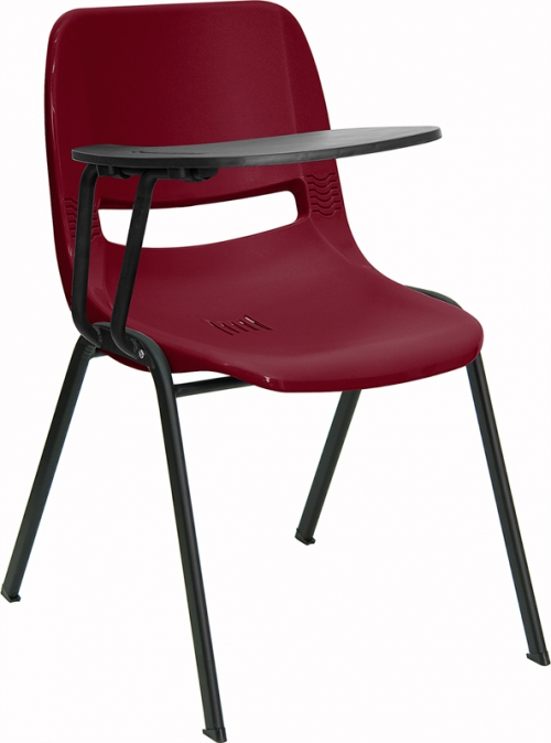 Flash Furniture Burgundy Ergonomic Shell Chair with Right Handed Flip-Up Tablet Arm [RUT-EO1-BY-RTAB-GG]