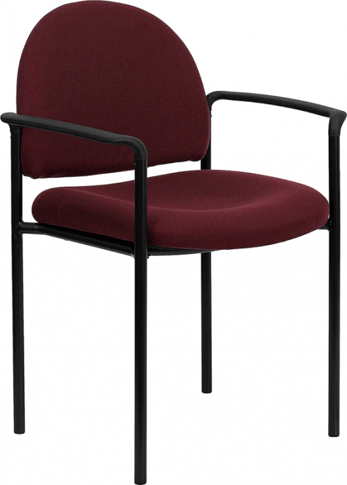 Flash Furniture Burgundy Fabric Comfortable Stackable Steel Side Chair with Arms [BT-516-1-BY-GG]