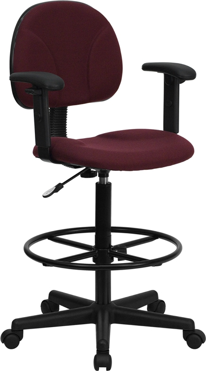 Flash Furniture Burgundy Fabric Ergonomic Drafting Stool with Arms  [BT-659-BY-ARMS-GG]