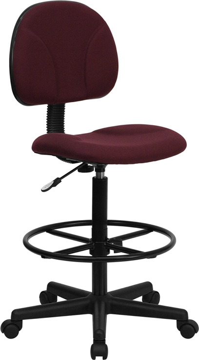 Flash Furniture Burgundy Fabric Ergonomic Drafting Stool [BT-659-BY-GG]