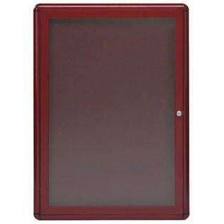 "Aarco RAB3624BU Radius Design Enclosed Bulletin Board with Burgundy Frame 36"" x 24"""