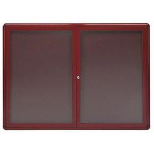 "Aarco RAB3648BU Radius Design Enclosed Bulletin Board with Burgundy Frame 36"" x 48"""