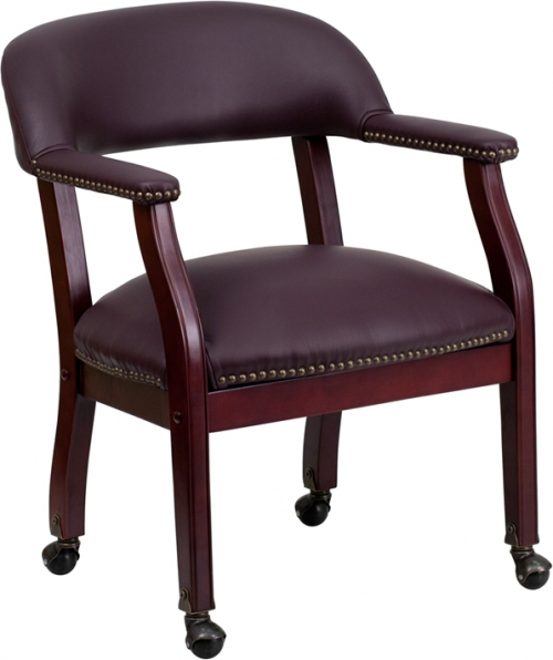 Flash Furniture Burgundy Leather Conference Chair with Casters [B-Z100-LF19-LEA-GG]