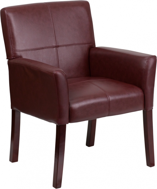 Flash Furniture Burgundy Leather Executive Side Chair or Reception Chair with Mahogany Legs [BT-353-BURG-GG]