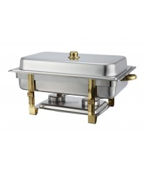 Winco 201 Malibu Oblong Chafer with Gold Accents 8 Qt.