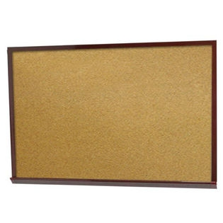 "Aarco DBW1824 Architectural High Performance Natural Pebble Grain Cork Bulletin Board with Cherry Wood Grain Look Aluminum Trim 18"" x 24"""