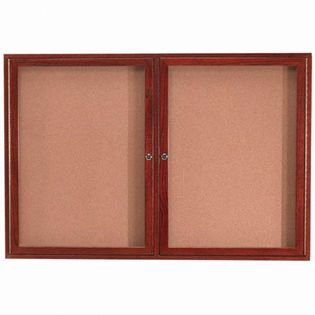 "Aarco DBW3660 Architectural High Performance Natural Pebble Grain Cork Bulletin Board with Cherry Wood Grain Look Aluminum Trim 36"" x 60"""